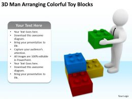 3D Man Arranging Colorful Toy Blocks Ppt Graphics Icons Powerpoint