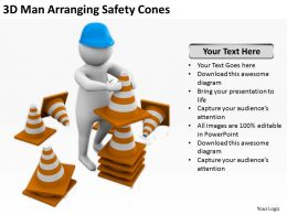 3D Man Arranging Safety Cones Ppt Graphics Icons Powerpoint