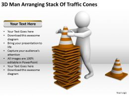 3D Man Arranging Stack Of Traffic Cones Ppt Graphics Icons Powerpoint