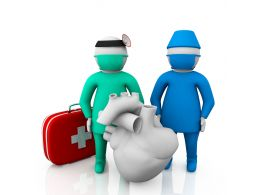 3D Man As Doctor And Assistant For Heart And First Aid Stock Photo
