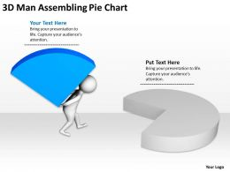 3D Man Assembling Pie Chart Ppt Graphics Icons