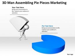 3D Man Assembling Pie Pieces Marketing Ppt Graphics Icons Powerpoint