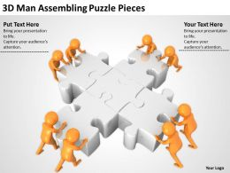 3D Man Assembling Puzzle Pieces Ppt Graphics Icons Powerpoint