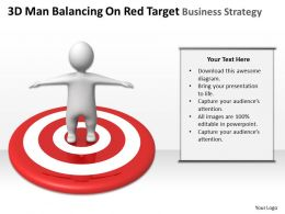 3D Man Balancing On Red Target Business Strategy Ppt Graphics Icons