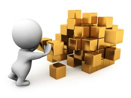 3D Man Building Golden Cube Stock Photo