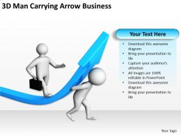 3D Man Carrying Arrow Business Ppt Graphics Icons