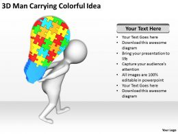 3D Man Carrying Colorful Idea Ppt Graphics Icons