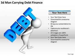 3D Man Carrying Debt Finance Ppt Graphics Icons