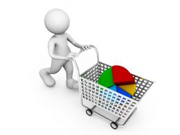 3D Man Carrying Pie Chart In Cart Stock Photo
