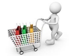 3D Man Carrying Shopping Bags In Carts Stock Photo