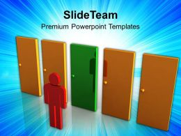 3d Man Choosing Between The Doors Success Powerpoint Templates Ppt Themes And Graphics 0113