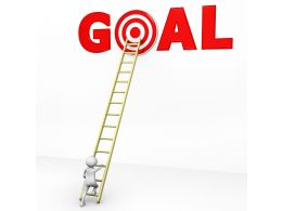 3D Man Climbing Ladder For Reaching On Goal Stock Photo