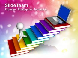 3d Man Climbing On Stack Of Books Powerpoint Templates Ppt Themes And Graphics 0213