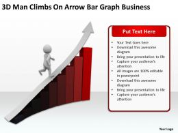 3D Man Climbs On Arrow Bar Graph Business Ppt Graphic Icon