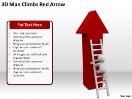 3D Man Climbs Red Arrow Ppt Graphics Icons Powerpoint