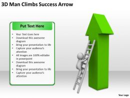 3D Man Climbs Successs Arrow Ppt Graphics Icons Powerpoint