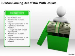 3D Man Coming Out of Box With Dollars Ppt Graphics Icons Powerpoint