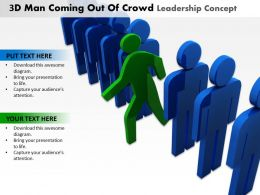 3D Man Coming out Of Crowd Leadership Concept Ppt Graphics Icons