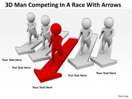 3D Man Competing In A Race With Arrows Ppt Graphics Icons Powerpoint