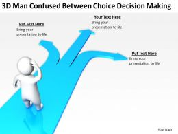 3D man confused between Choice decision making Ppt Graphics Icons