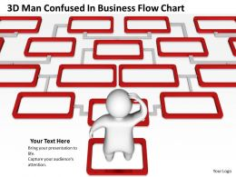 3D Man Confused In Business Flow Chart Ppt Graphics Icons