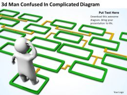 3D Man Confused In Complicated Diagram Ppt Graphics Icons