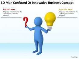 3D Man Confused Or Innovative Business Concept Ppt Graphics Icons Powerpoint