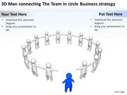 3D Man connecting The Team in circle Business strategy Ppt Graphics Icons