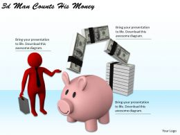 3d Man Counts His Money Ppt Graphics Icons Powerpoint