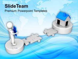 3d Man Cross The Path To Real Estate Powerpoint Templates Ppt Themes And Graphics