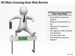 3D Man Crossing Over Risk Barrier Ppt Graphics Icons Powerpoint