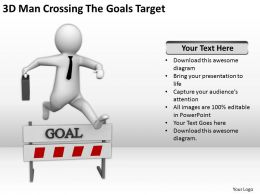 3D Man Crossing The Goals Target Ppt Graphics Icons Powerpoin