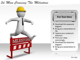 3d Man Crossing The Milestone Ppt Graphics Icons Powerpoint