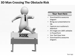 3D Man Crossing the Obstacle Risk Ppt Graphics Icons Powerpoint
