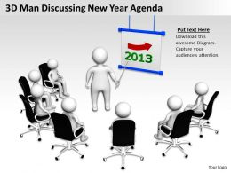 3D Man Discussing New Year Agenda Ppt Graphics Icons