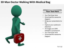 3D Man Doctor Walking With Medical Bag Ppt Graphics Icons