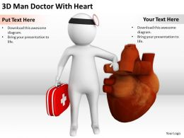 3D Man Doctor With Heart Ppt Graphics Icons PowerPoint