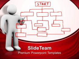 3d Man Drawing Organization Chart Business Powerpoint Templates Ppt Themes And Graphics 0113