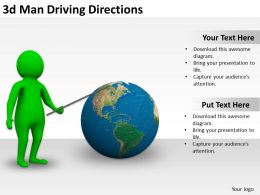 3d Man Driving Directions Ppt Graphics Icons Powerpoint