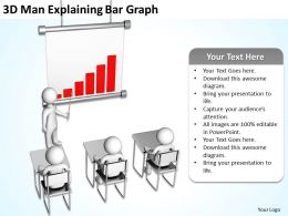 3D Man Explaining Bar Graph Ppt Graphics Icons Powerpoint