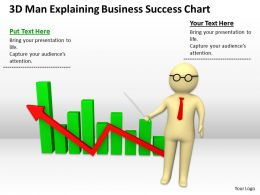 3D Man Explaining Business Success Chart Ppt Graphics Icons Powerpoint