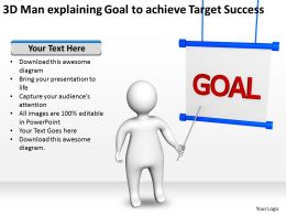 3D Man explaining Goal to achieve Target Success Ppt Graphics Icons