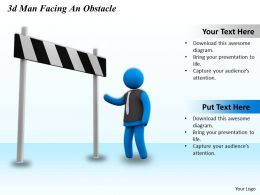 3d Man Facing An Obstacle Ppt Graphics Icons Powerpoint