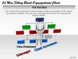 3d Man Filling Blank Organizational Chart Ppt Graphics Icons Powerpoint