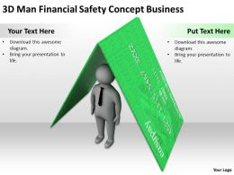 3D Man Financial Safety Concept Business Ppt Graphics Icons Powerpoint