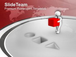 3d Man Fitting The Cube In Place PowerPoint Templates PPT Themes And Graphics 0213