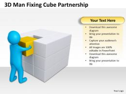 3D Man Fixing Cube Partnership Ppt Graphics Icons