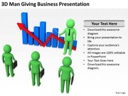 3D Man Giving Business Presentation Ppt Graphics Icons Powerpoint