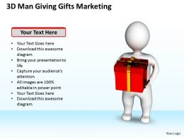 3D Man Giving Gift Marketing Ppt Graphics Icons