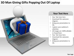 3D Man Giving Gifts Popping Out Of Laptop Ppt Graphics Icons Powerpoin